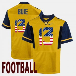 Mens US Flag Fashion Andrew Buie College Jersey #13 Gold West Virginia Mountaineers