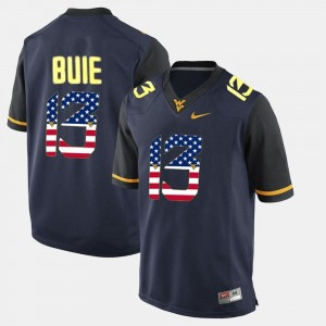 Andrew Buie College Jersey Men's US Flag Fashion West Virginia Mountaineers #13 Navy Blue