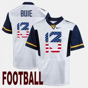 West Virginia Mountaineers White US Flag Fashion Andrew Buie College Jersey #13 Men's
