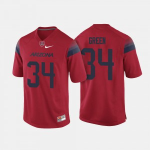 #34 Football For Men's University of Arizona Red Zach Green College Jersey