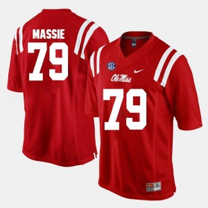 Alumni Football Game Bobby Massie College Jersey Red Ole Miss Men #79