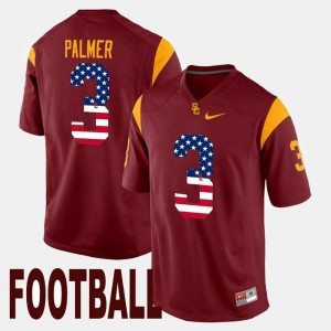 Maroon US Flag Fashion USC #3 For Men Carson Palmer College Jersey