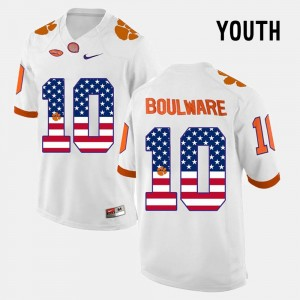 White Ben Boulware College Jersey Youth(Kids) US Flag Fashion #10 CFP Champs