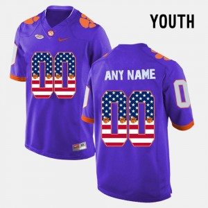 For Kids #00 Clemson National Championship Purple College Customized Jersey US Flag Fashion