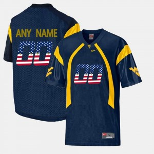 #00 US Flag Fashion For Men College Customized Jerseys Navy Blue Mountaineers