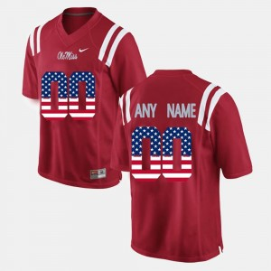 Rebels #00 College Customized Jersey Men US Flag Fashion Red