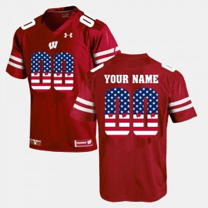 #00 Mens College Custom Jersey University of Wisconsin Red US Flag Fashion