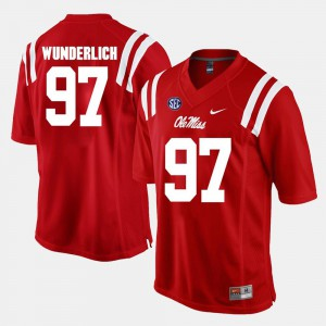 Alumni Football Game For Men Red Gary Wunderlich College Jersey Ole Miss #97