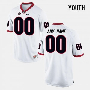 Limited Football College Custom Jersey White Youth Georgia #00