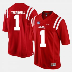 For Men's Red Laquon Treadwell College Jersey University of Mississippi #1 Alumni Football Game