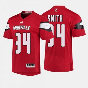 Football Red #34 Jeremy Smith College Jersey Men's Louisville Cardinals