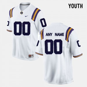 #00 Louisiana State Tigers For Kids White College Custom Jersey Limited Football