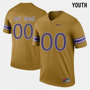 College Customized Jersey #00 Throwback LSU Youth(Kids) Gridiron Gold