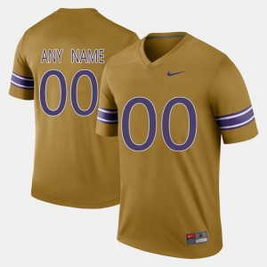 Tigers #00 College Custom Jersey For Men Gridiron Gold Throwback