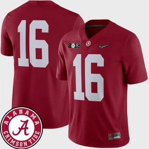 Alabama Roll Tide 2018 National Championship Playoff Game Crimson #16 Football Men's College Jersey