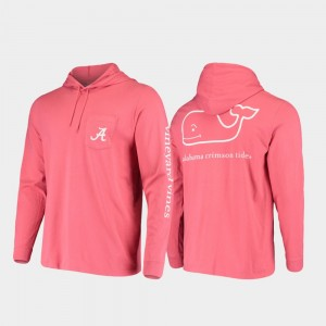 Crimson Alabama Hooded Long Sleeve Whale College T-Shirt For Men