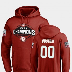 #00 College Customized Hoodie Bama Crimson 2018 SEC West Division Champions Mens Football
