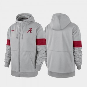 Gray Performance Full-Zip University of Alabama College Hoodie 2019 Sideline Therma-FIT For Men