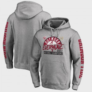 Alabama Roll Tide Heather Gray For Men's Bowl Game Football Playoff 2017 National Champions Motion College Hoodie