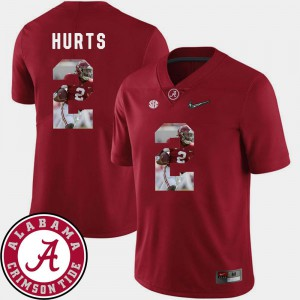 For Men's Crimson Football Pictorial Fashion Bama #2 Jalen Hurts College Jersey