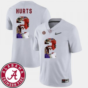 For Men's #2 White Football Pictorial Fashion Alabama Jalen Hurts College Jersey