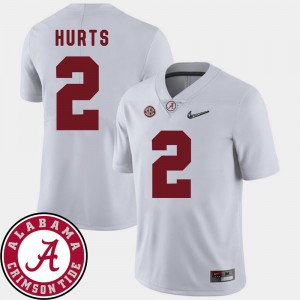#2 University of Alabama 2018 SEC Patch Football Mens Jalen Hurts College Jersey White