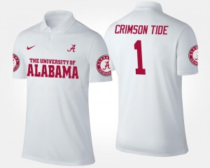 College Polo White For Men's No.1 Short Sleeve Alabama Roll Tide #1