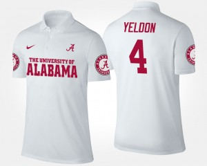 #4 White Roll Tide Mens T.J. Yeldon College Polo