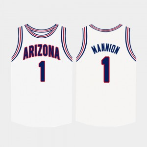 #1 Nico Mannion College Jersey Basketball For Men White UofA