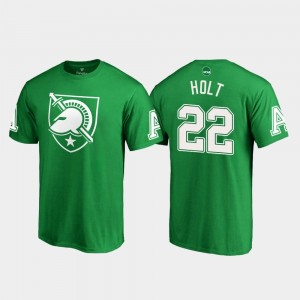 St. Patrick's Day United States Military Academy For Men's #22 White Logo Calen Holt College T-Shirt Kelly Green