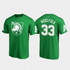 Kelly Green Darnell Woolfolk College T-Shirt St. Patrick's Day White Logo Army For Men's #33