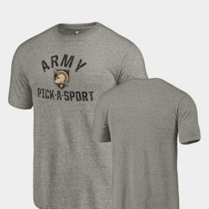 Pick-A-Sport College T-Shirt Tri-Blend Distressed For Men Gray Army