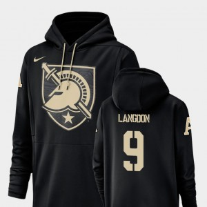 #9 United States Military Academy Football Performance Champ Drive For Men's Luke Langdon College Hoodie Black