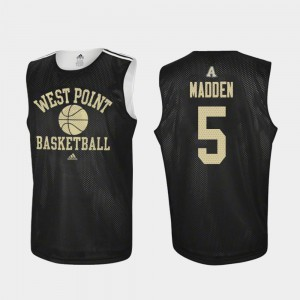 #5 Army West Point Black For Men Practice Basketball Mark Madden College Jersey