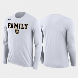 Family on Court White Westpoint College T-Shirt March Madness Basketball Performance Long Sleeve Men's