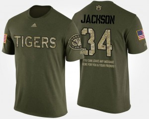 Bo Jackson College T-Shirt #34 For Men's Camo Tigers Military Short Sleeve With Message