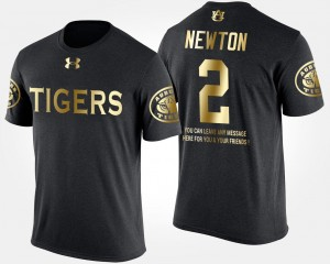 #2 Cam Newton College T-Shirt Black Short Sleeve With Message Gold Limited For Men Tigers