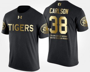 Men Black #38 Short Sleeve With Message Gold Limited AU Daniel Carlson College T-Shirt
