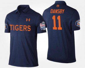 Navy Karlos Dansby College Polo Tigers #11 Men Peach Bowl Bowl Game