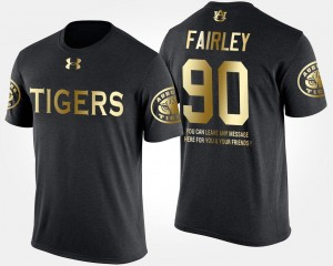 Black #90 Auburn Tigers For Men Gold Limited Short Sleeve With Message Nick Fairley College T-Shirt