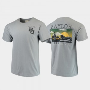 Mens College T-Shirt Baylor Campus Scenery Comfort Colors Gray