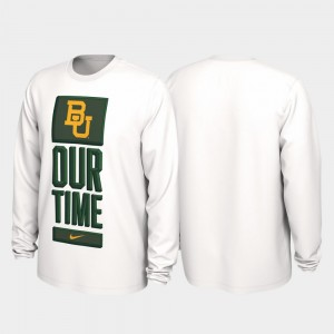 For Men's Baylor University 2020 March Madness White Our Time Bench Legend College T-Shirt