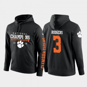 Football Pullover #3 Clemson Tigers Black Mens 2018 National Champions Amari Rodgers College Hoodie
