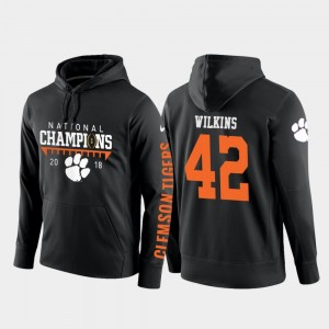 Mens Football Pullover 2018 National Champions Black Clemson Christian Wilkins College Hoodie #42