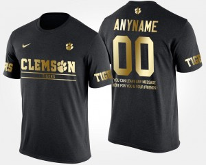 Men #00 Short Sleeve With Message Black Clemson College Customized T-Shirts Gold Limited