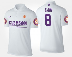 Deon Cain College Polo Clemson National Championship #8 White Mens