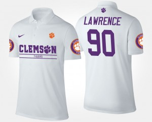 Clemson Tigers Mens White Dexter Lawrence College Polo #90