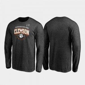 For Men's Tackle Long Sleeve Clemson Heather Gray 2019 Fiesta Bowl Bound College T-Shirt
