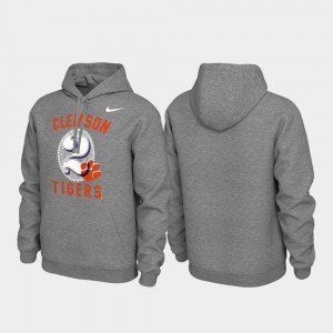 College Hoodie Heathered Gray For Men's Clemson University Pullover Local Phrase