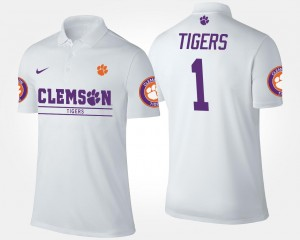 CFP Champs No.1 Short Sleeve #1 College Polo For Men's White